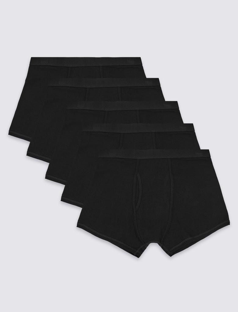 Erkek Siyah 5'li Cool & Fresh™ Pamuklu Trunk Seti