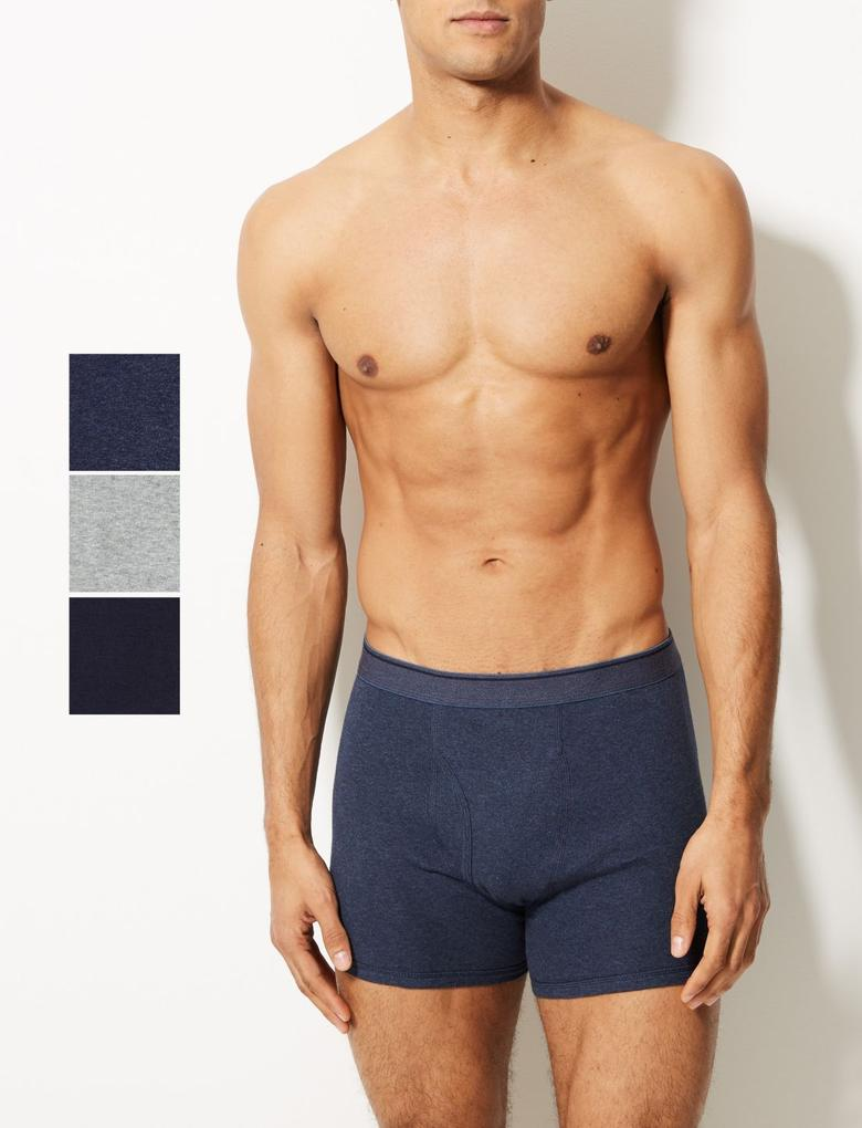 Erkek Mavi 5'li Saf Pamuklu Cool & Fresh™ Trunk Seti