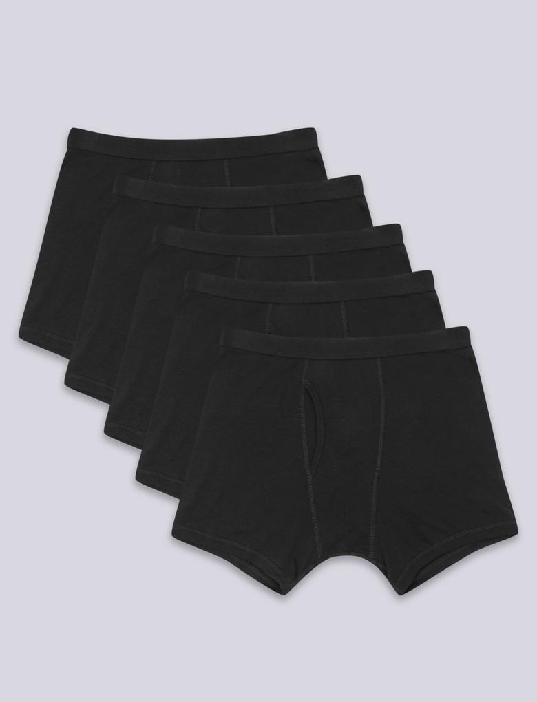Siyah 5'li Saf Pamuklu Cool & Fresh™ Trunk Seti