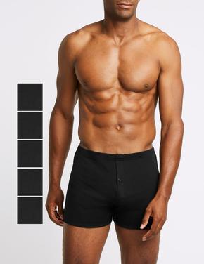 Erkek Siyah 5'li Saf Pamuklu Trunk Seti (StayNEW™ Teknolojisi ile)