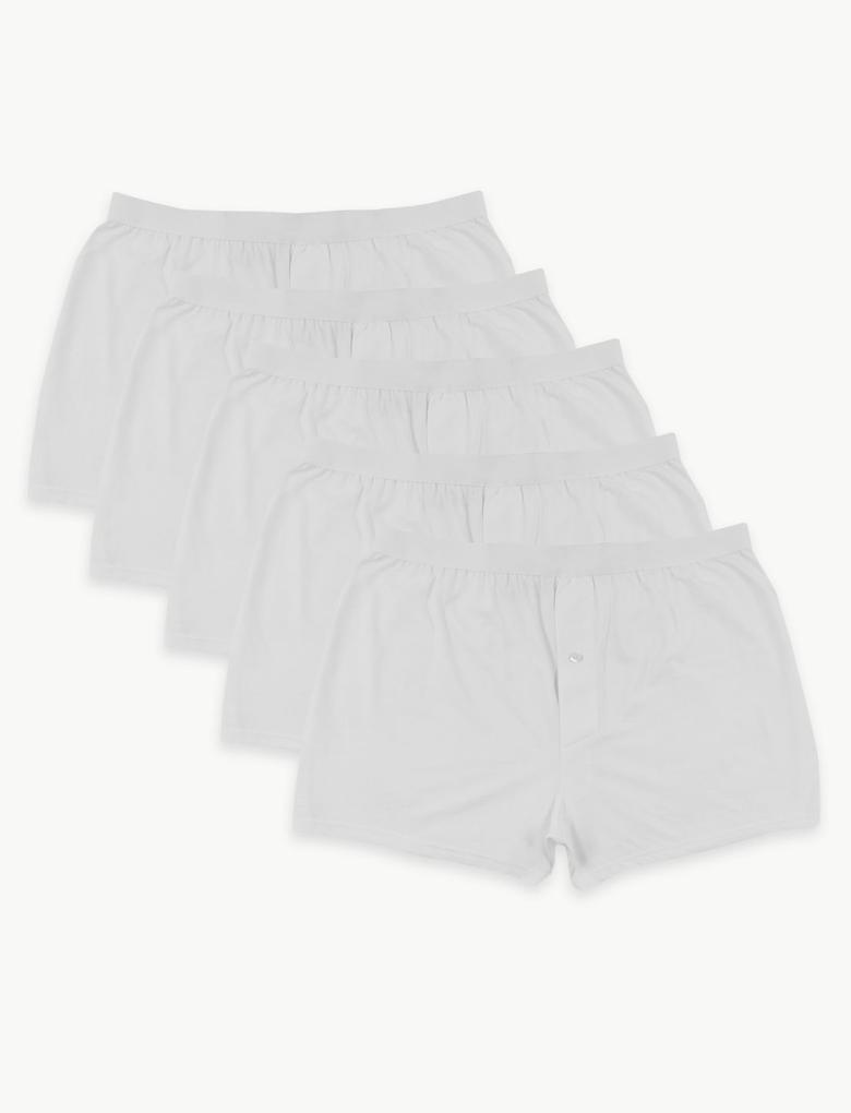 Erkek Beyaz 5'li Pamuklu Jarse Boxer Seti