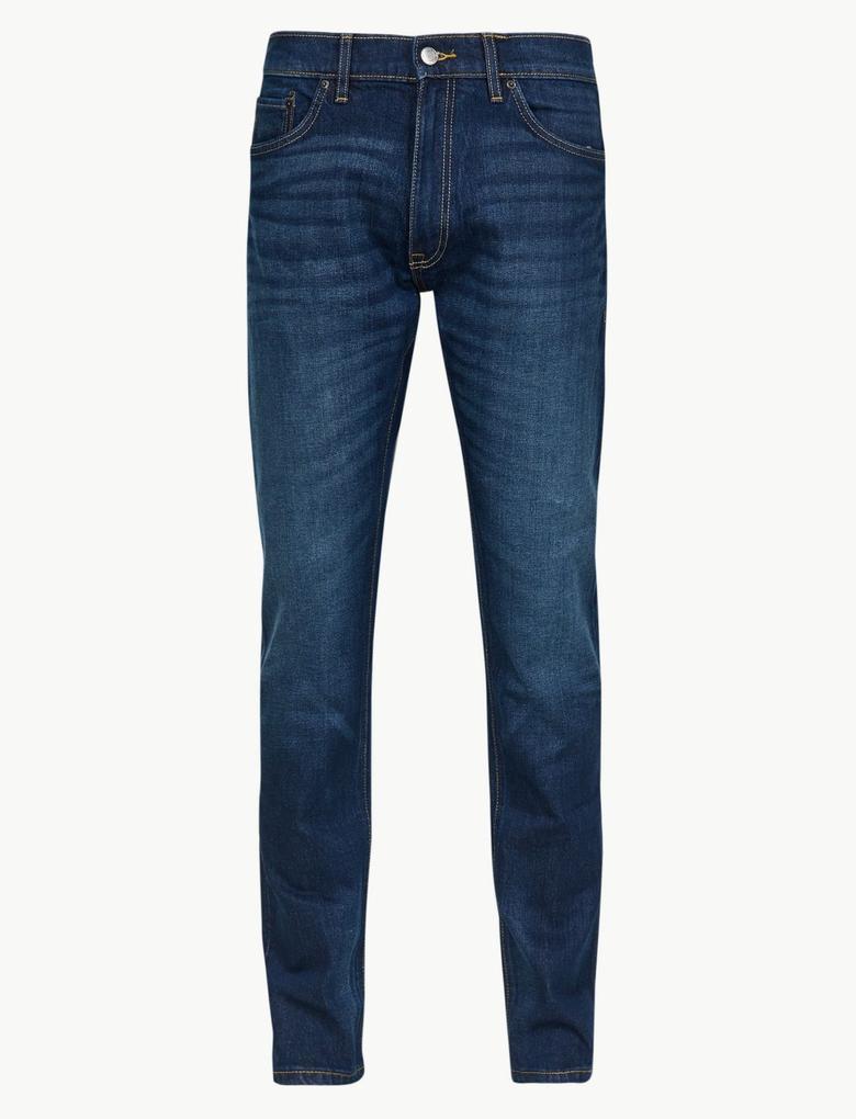 Erkek Mavi Vintage Yıkamalı Slim Fit Jean Pantolon