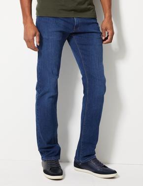 Erkek Mavi Straight Fit Streç Jean Pantolon
