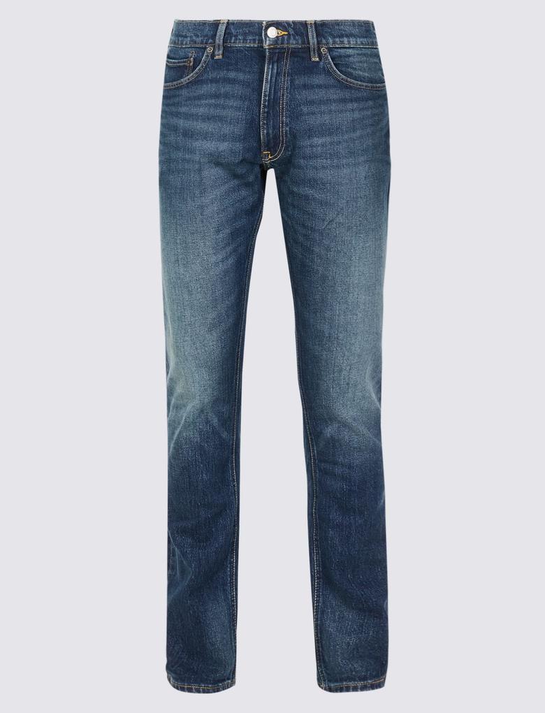 Vintage Yıkamalı Slim Fit Jean Pantolon