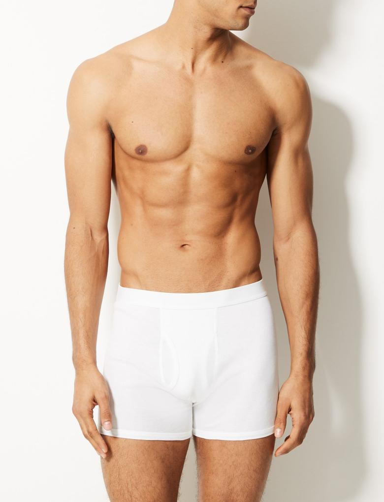 Erkek Beyaz 5'li Saf Pamuklu Cool & Fresh™ Trunk Seti