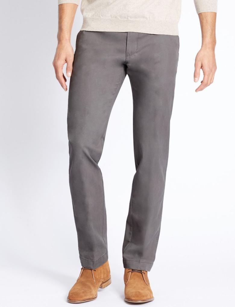 Gri Straight Fit Saf Pamuklu Chino Pantolon