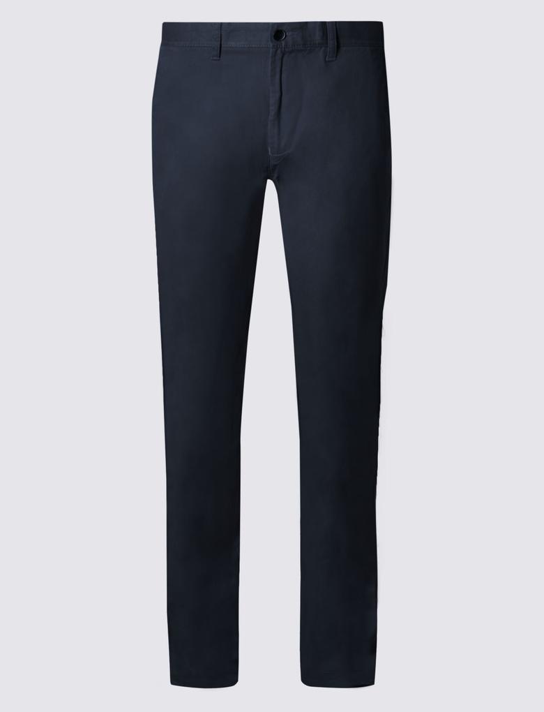 Straight Fit Saf Pamuklu Chino Pantolon