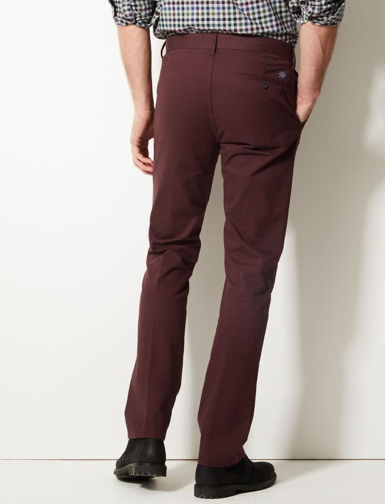 Erkek Mor Straight Fit Saf Pamuklu Chino Pantolon