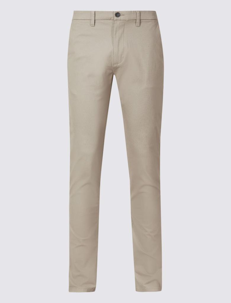 Erkek Krem Slim Fit Pamuklu Chino Pantolon