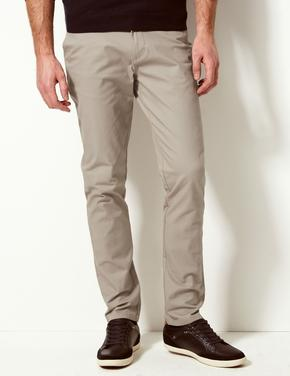 Krem Slim Fit Pamuklu Chino Pantolon