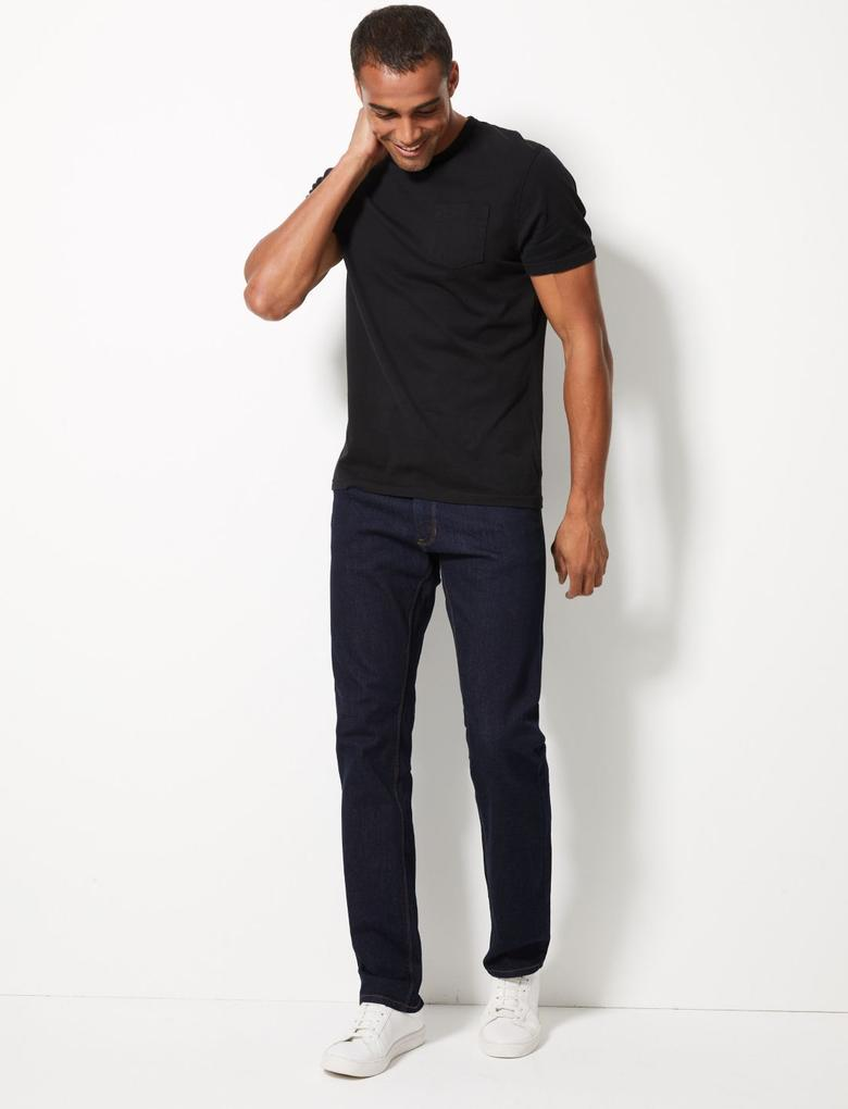 Erkek Lacivert Straight Fit Streç Jean Pantolon