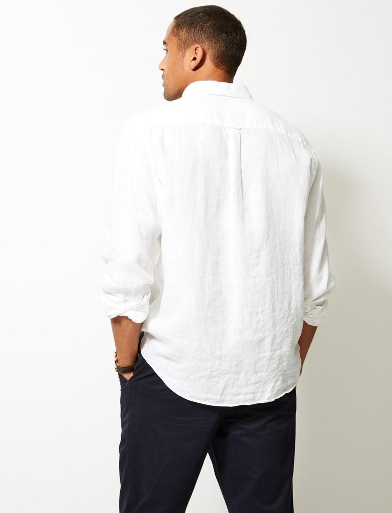 Beyaz Saf Keten Cepli Gömlek