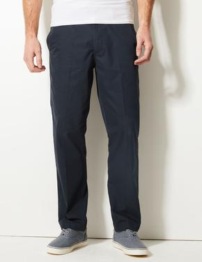 Erkek Lacivert Regular Fit Pamuklu Chino Pantolon