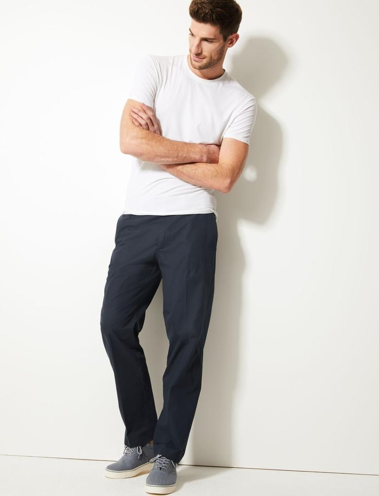 Erkek Lacivert Regular Fit Pamuklu Chino Pantolon