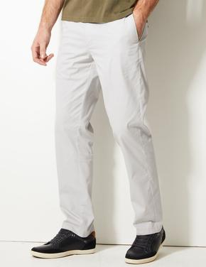 Erkek Gri Regular Fit Pamuklu Chino Pantolon