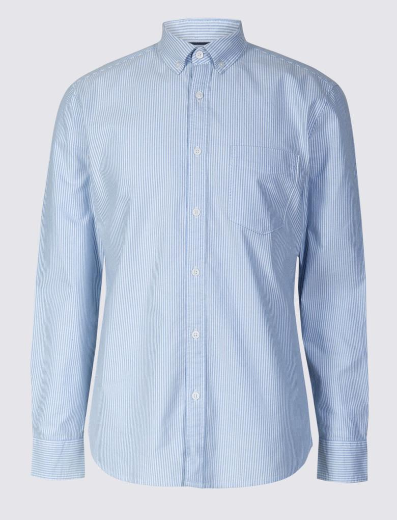 Mavi Saf Pamuklu Slim Fit Cepli Gömlek