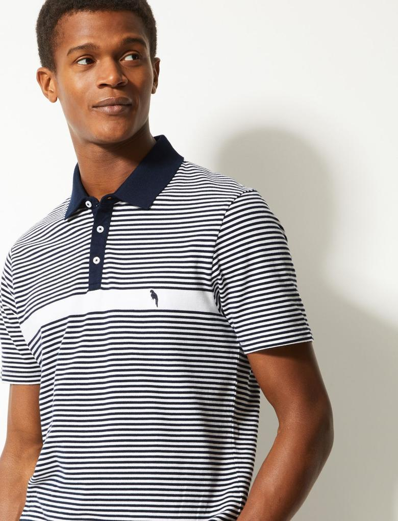 Lacivert Slim Fit Saf Pamuklu Çizgili Polo Yaka T-Shirt
