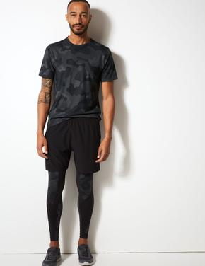 Active Desenli Sıfır Yaka T-Shirt