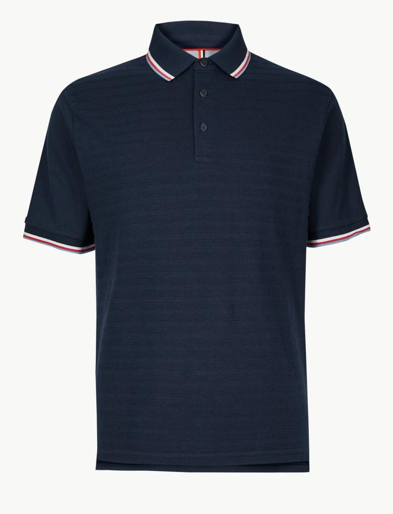 Lacivert Saf Pamuklu Çizgili Polo Yaka T-Shirt