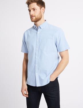 Saf Pamuklu Oxford Cepli Gömlek