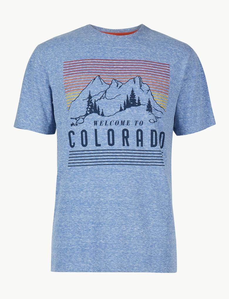 Mavi Pamuklu Desenli Sıfır Yaka T-Shirt