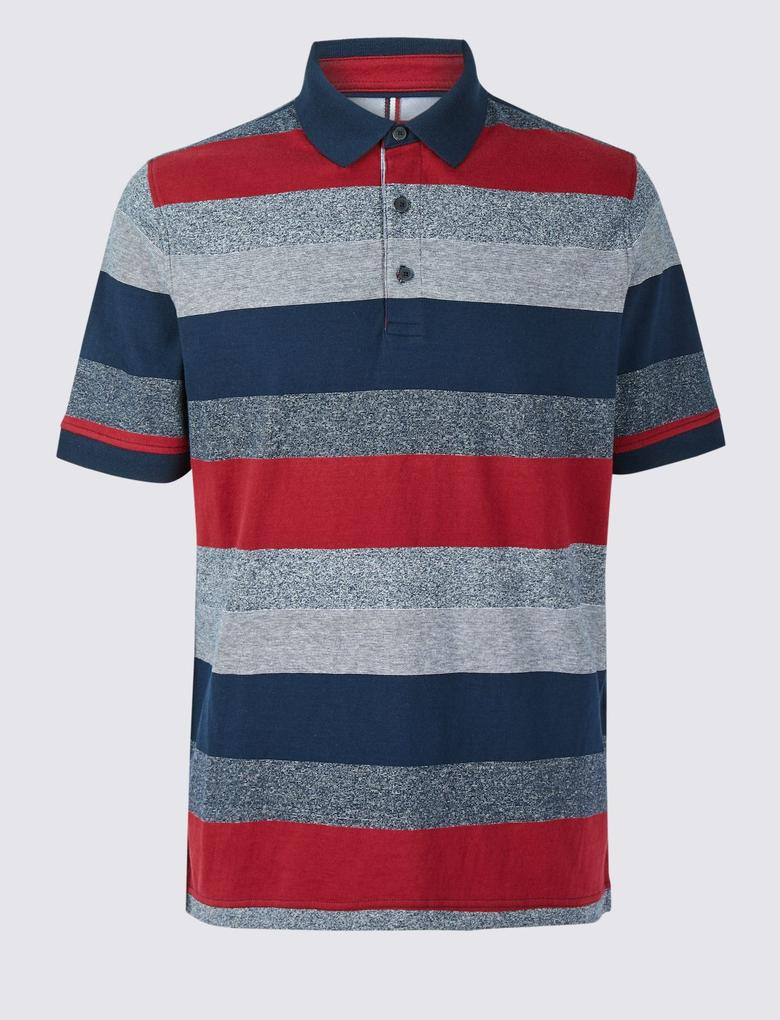 Kırmızı Saf Pamuklu Çizgili Polo Yaka T-Shirt
