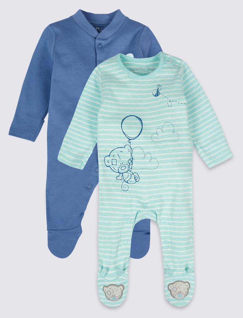 Lacivert 2'li Saf Pamuklu Tulum Pijama Seti