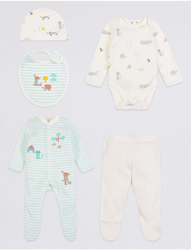 Beyaz 5 Parça Saf Pamuklu Hoşgeldin Bebek Seti