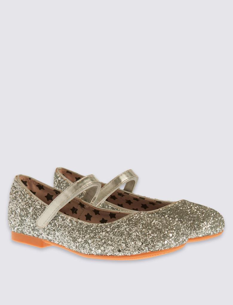 Metalik Pırıltılı Babet Ayakkabı