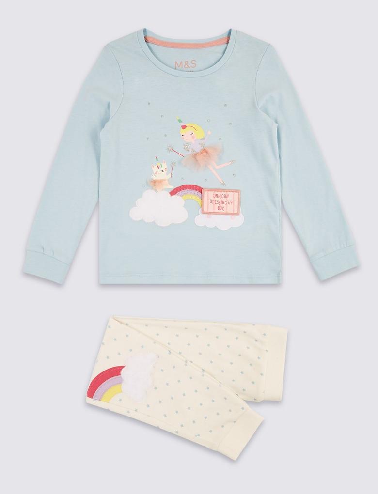 Mavi Saf Pamuklu Pijama Takımı