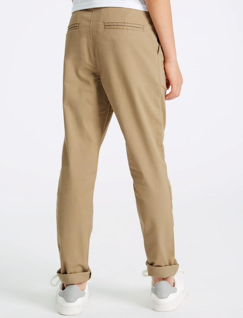Erkek Çocuk Gri Pamuklu Streç Chino Pantolon