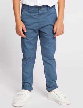 Erkek Çocuk Lacivert Pamuklu Streç Chino Pantolon