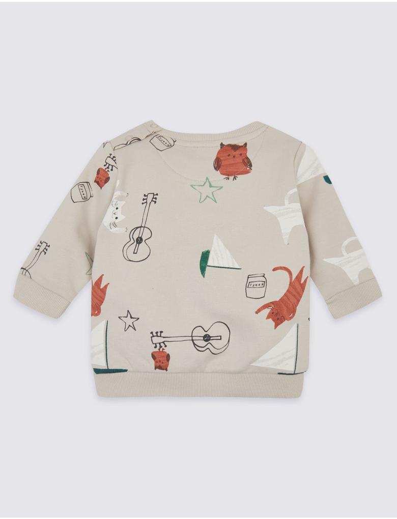 Saf Pamuklu Baykuş ve Kedi Desenli Sweatshirt