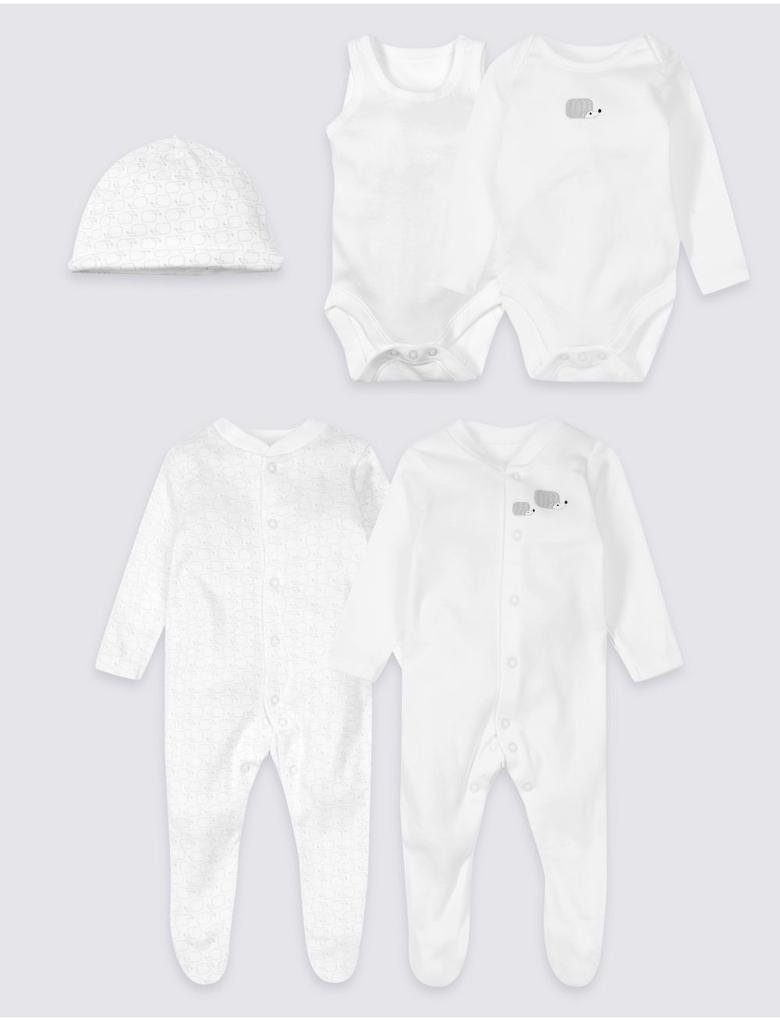 Bebek Beyaz 5 Parça Saf Pamuklu Hoşgeldin Bebek Seti