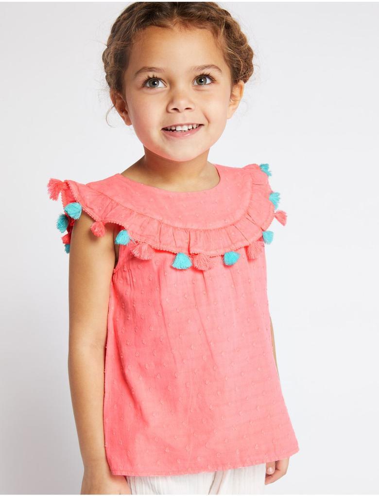 Kız Çocuk Pembe Saf Pamuklu Püskül Detaylı Bluz