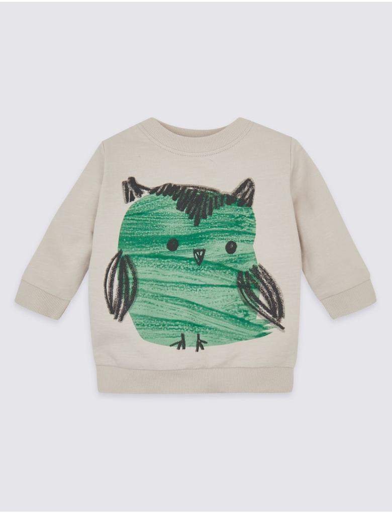 Saf Pamuklu Baykuş Desenli Sweatshirt
