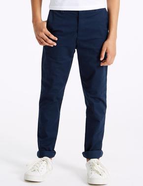 Lacivert Pamuklu Streç Chino Pantolon
