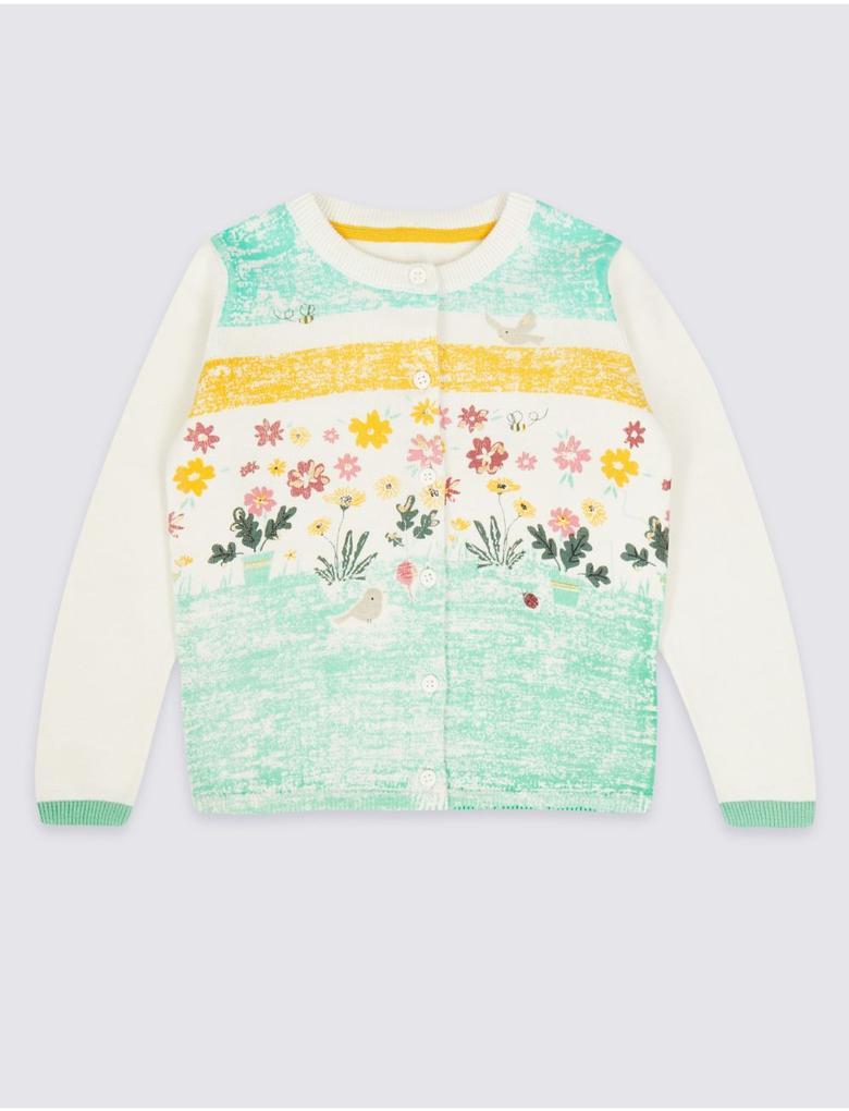 Kız Çocuk Beyaz Saf Pamuklu Çiçek Desenli Hırka