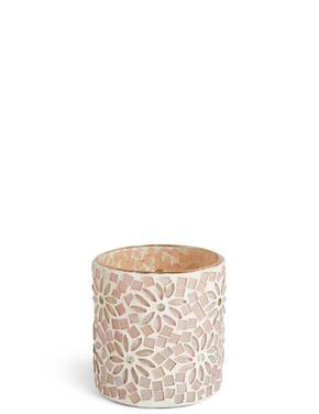 Çiçekli ve Boncuklu Tea Light Mumluk