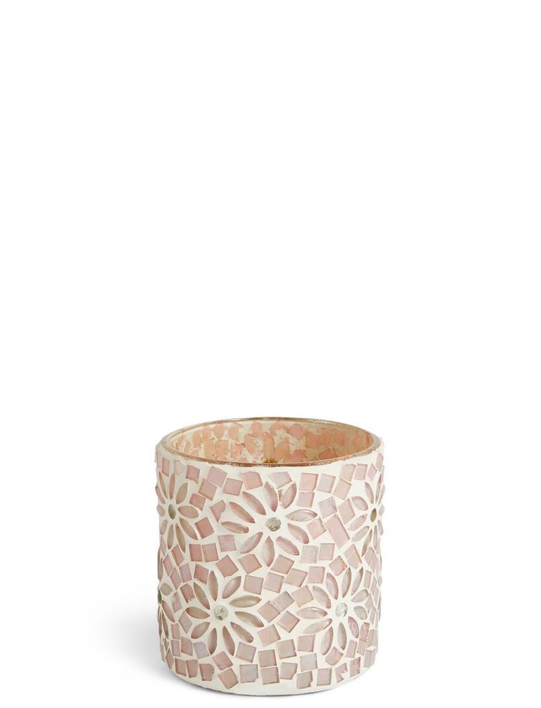 Ev Pembe Çiçekli ve Boncuklu Tea Light Mumluk