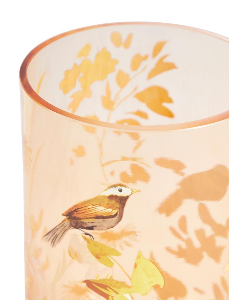 Kuş Desenli Küçük Boy Vazo