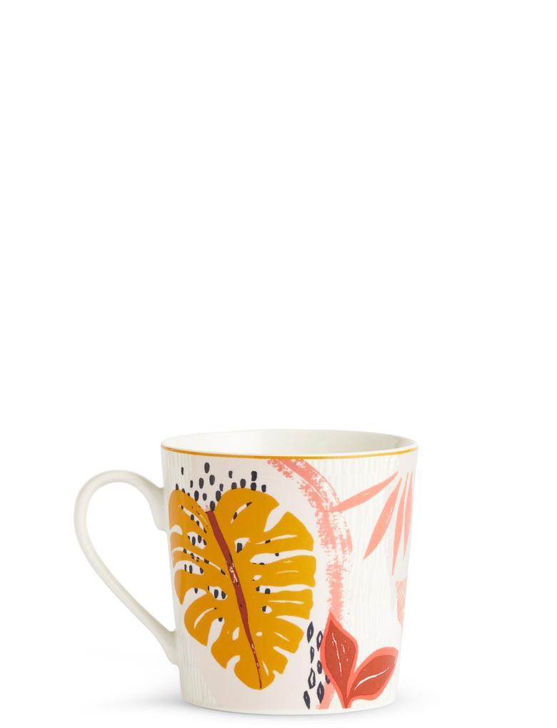 Kahverengi Çiçek Desenli Kupa
