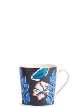 Mavi Çiçek Desenli Kupa