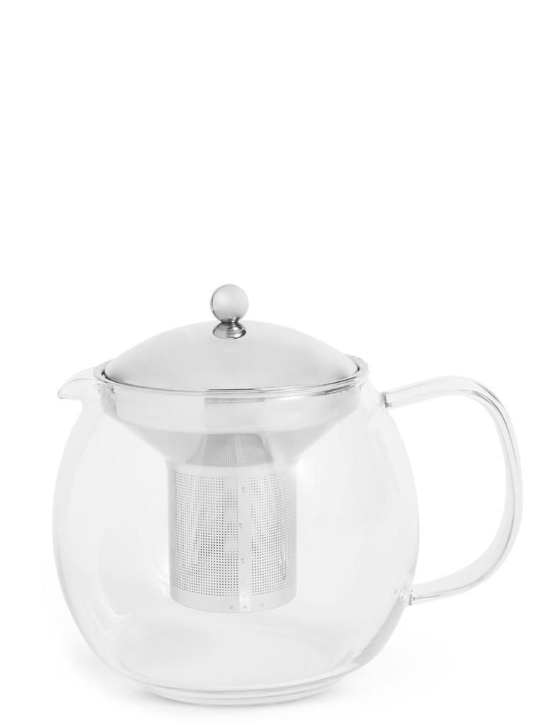 Beyaz Cam Çay Demliği