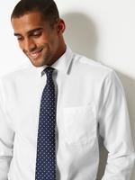 Erkek Beyaz Saf Pamuklu Ütü Gerektirmeyen Regular Fit Gömlek