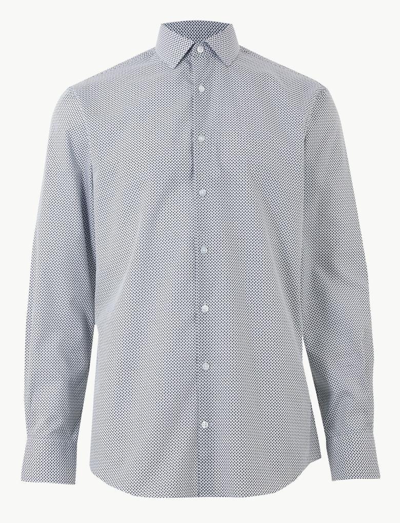 Beyaz Pamuklu Skinny Fit Gömlek
