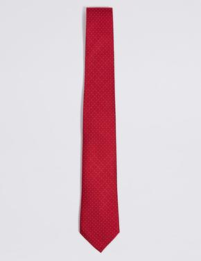 Erkek Kırmızı Saf İpek Desenli Kravat