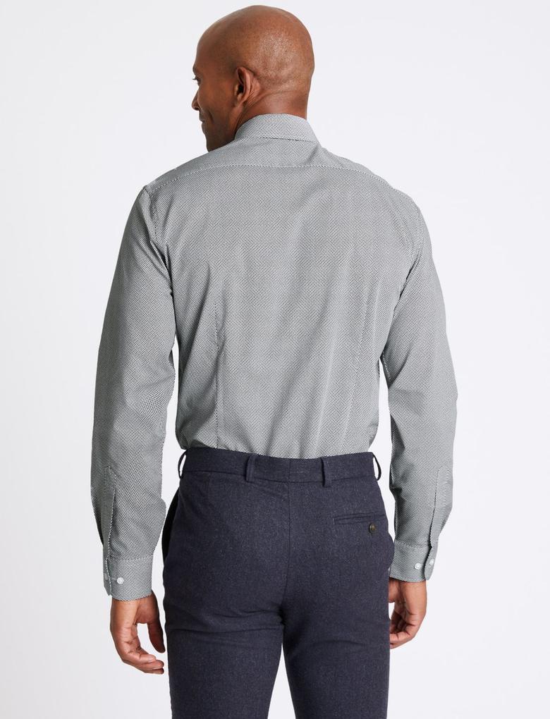 Lacivert 3'lü Pamuklu Slim Fit Gömlek