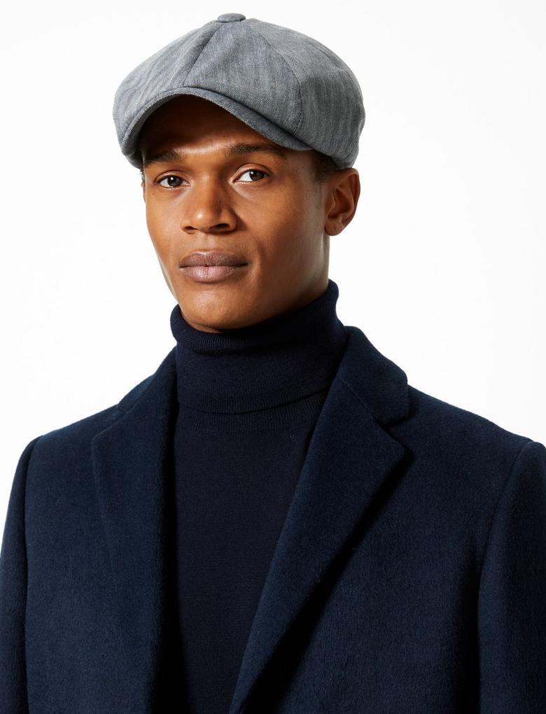Mavi Saf Pamuklu Şapka