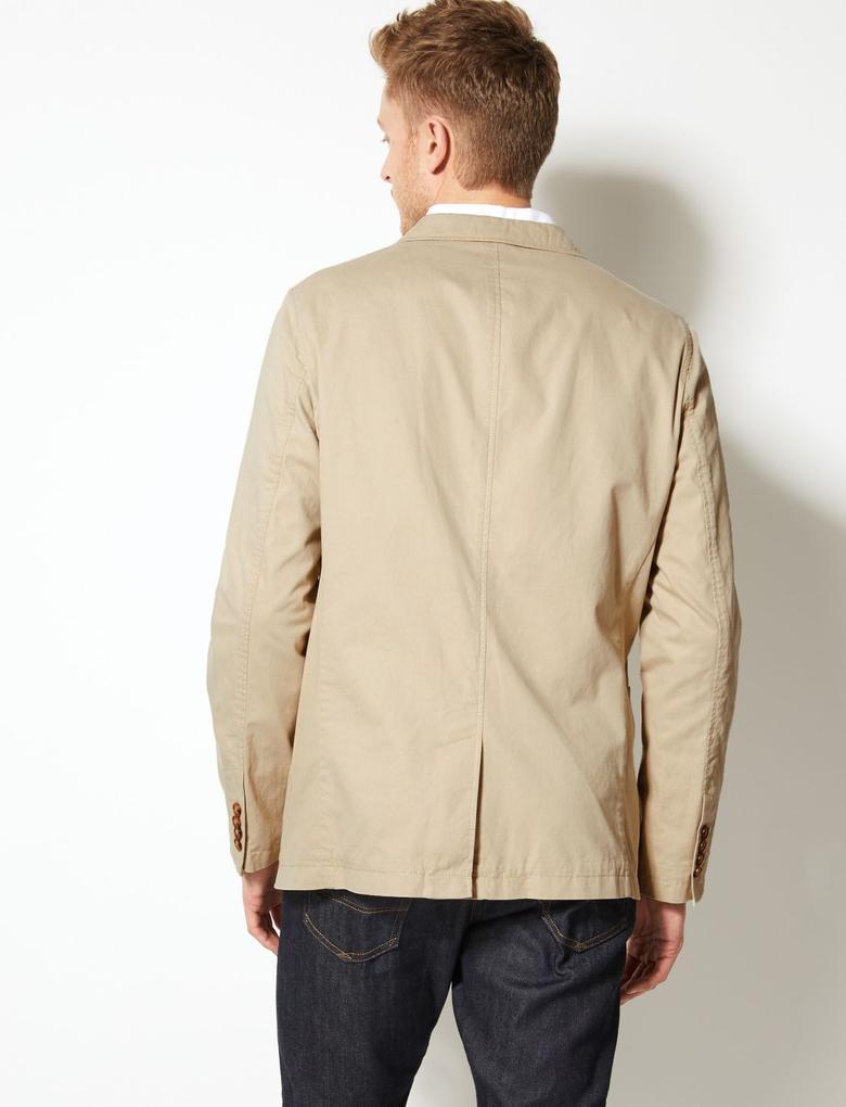 Erkek Renksiz Saf Pamuklu Tailored Fit Ceket